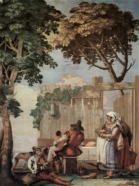 Peasant Family at Table, from the Room of Rustic Scenes, in the Foresteria (Guesthouse), 1757 - Giovanni Domenico Tiepolo