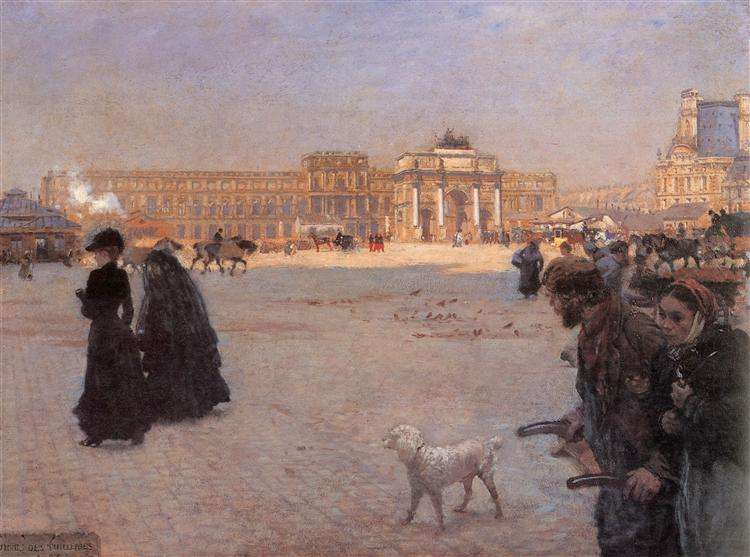 La Place du Carrousel, Paris: The Ruins of the Tuileries, 1882 - Giuseppe De Nittis