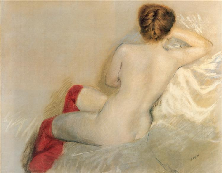 Nude with Red Stockings, 1879 - Giuseppe de Nittis