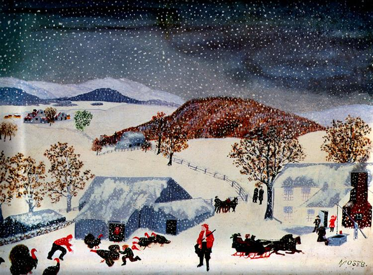 Catching the Thanksgiving Turkey, 1943 - Grandma Moses