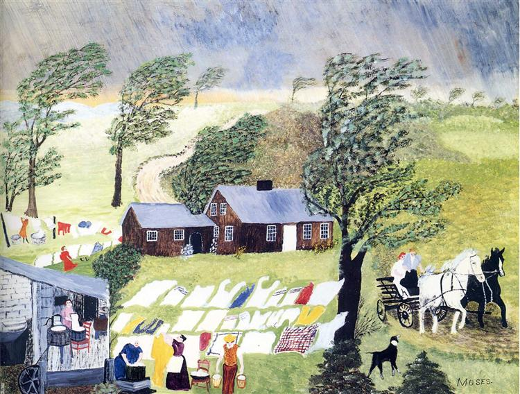 Taking in the Laundry, 1951 - Grandma Moses
