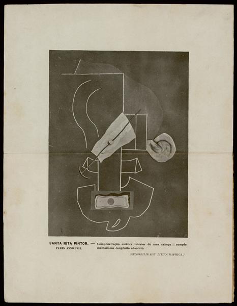 Compenetração estática interior de uma cabeça = complementarismo congénito absoluto (SENSIBILIDADE LITHOGRAPHICA), 1913 - Guilherme de Santa-Rita