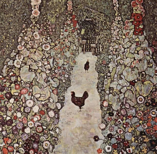Garden with Roosters, 1917 - Gustav Klimt