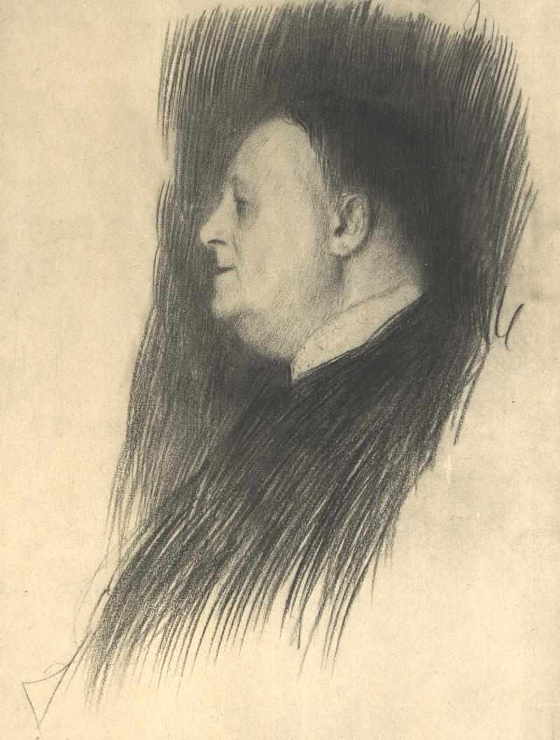Portrait of a man heading left