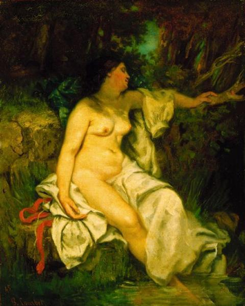 Bather Sleeping by a Brook - Gustave Courbet