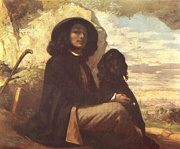 Self-Portrait with a Black Dog, 1841 - Gustave Courbet