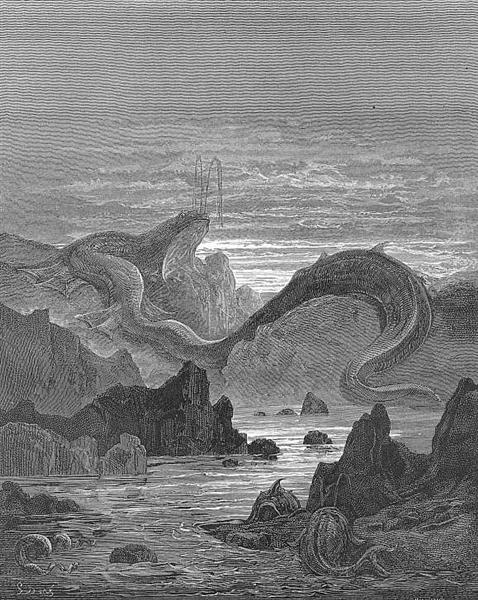 And seems a moving land  and at his gills Draws in, and at his trunk spouts out, a sea - Gustave Dore