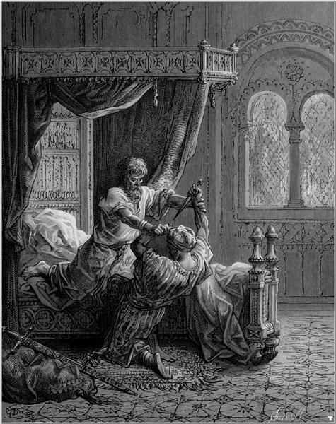 Edward I of England kills his would be assassin in June 1272 - Gustave Dore