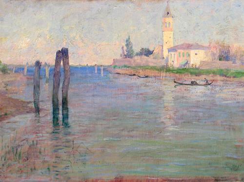 The Gondolier, Venice - Guy Rose