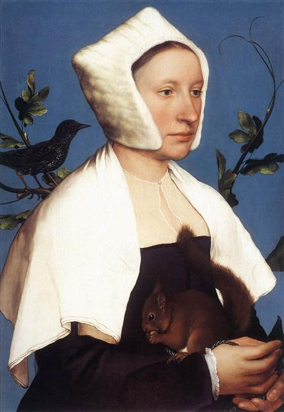Lady with a Squirrel and a Starling, c.1527 - Hans Holbein the Younger