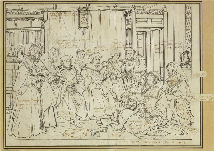 Study for the Family Portrait of Thomas More, c.1527 - Hans Holbein the Younger