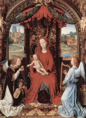 Madonna and Child Enthroned with Two Angels  - Hans Memling