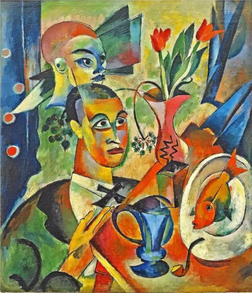 Stillleben mit zwei Köpfen, 1914 - Heinrich Campendonk
