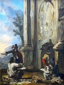 Zeichner in römischen Ruinen - Johann Heinrich Schönfeld
