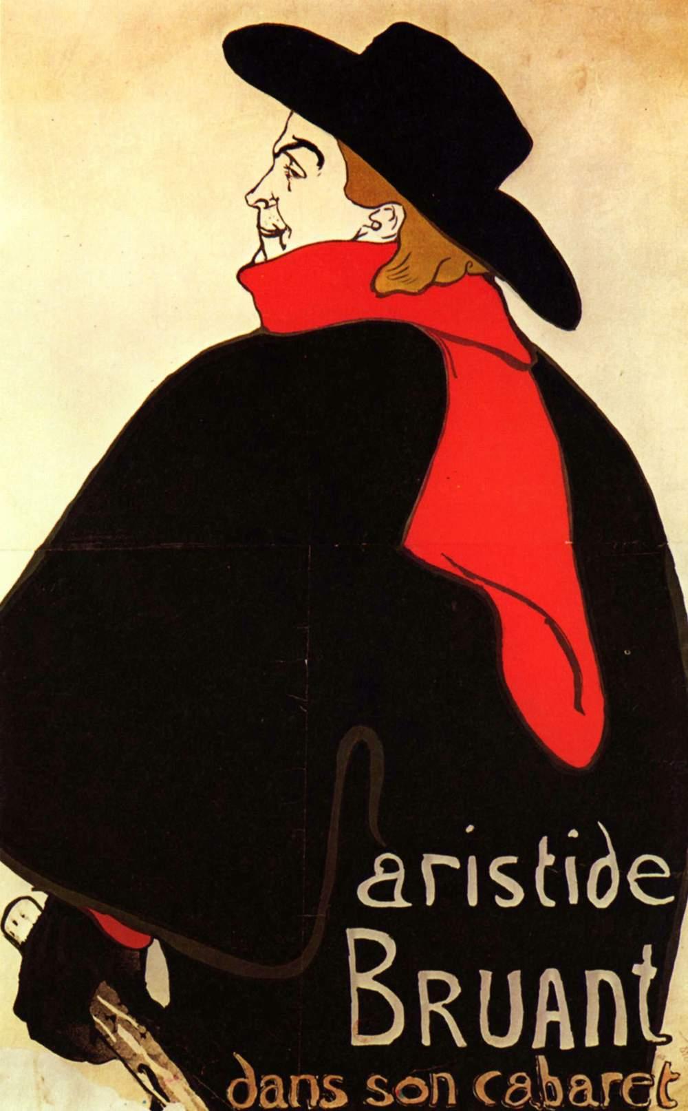 Aristide bruant in his cabaret henri de toulouse lautrec for Toulouse lautrec works