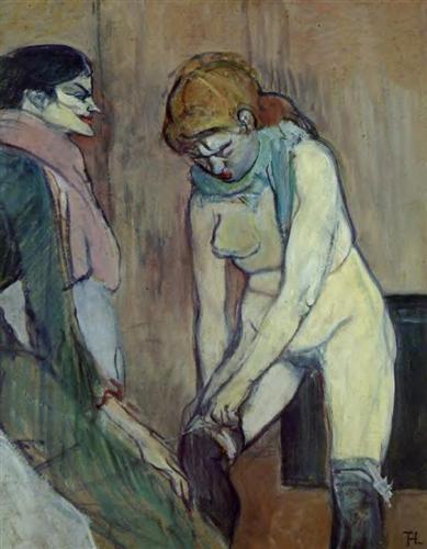 Woman Pulling up Her Stockings - Henri de Toulouse-Lautrec