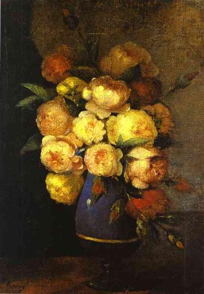 Peonies in a Vase, 1864 - Анри Фантен-Латур