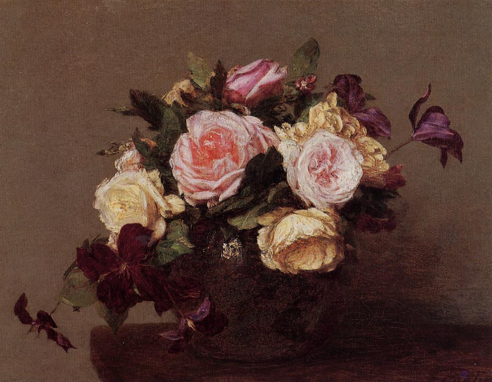 roses and clematis 1883 henri fantin latour. Black Bedroom Furniture Sets. Home Design Ideas