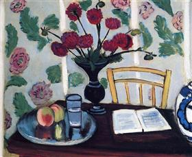 Bouquet of Dahlias and White Book - Henri Matisse