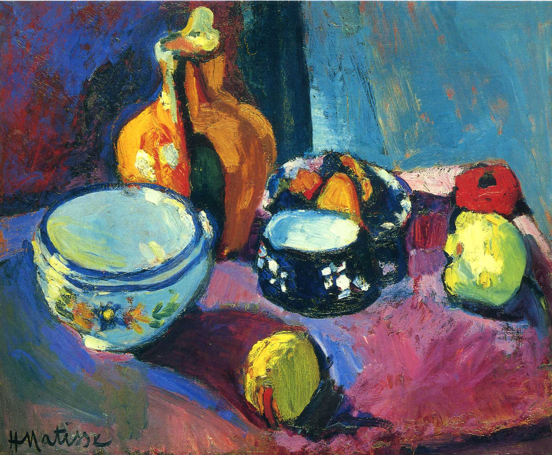 matisse/dishes-and-fruit-on-a-red-and-black-carpet-1901