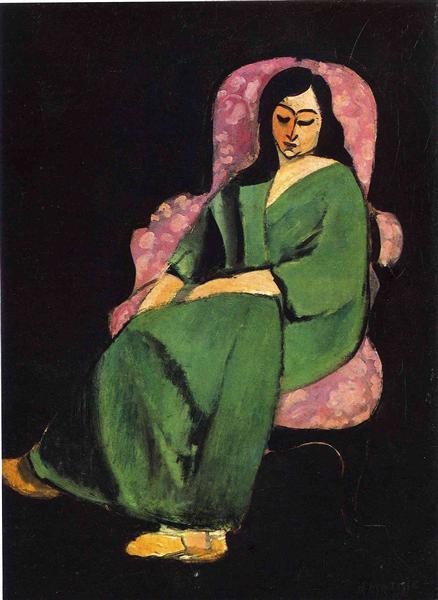 Lorette in a Green Robe against a Black Background, 1916 - Henri Matisse