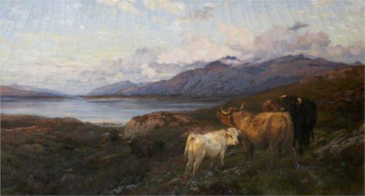 Cattle in a Highland Loch - Henry William Banks Davis