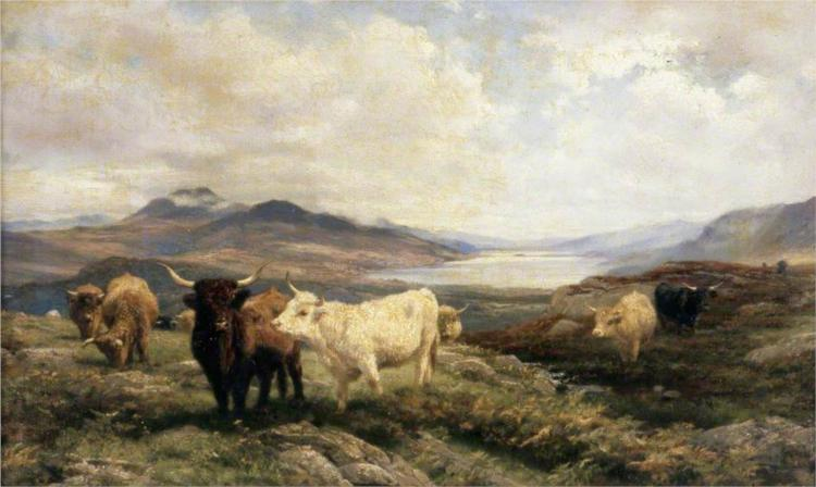 Landscape with Cattle, Morning - Henry William Banks Davis