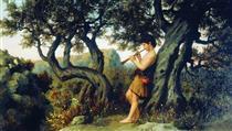 A Shepherd Playing Flute - Henryk Siemiradzki