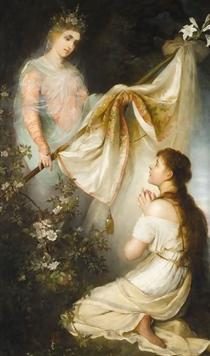 Joan of Arc Kneeling before Angel - Henryk Siemiradzki