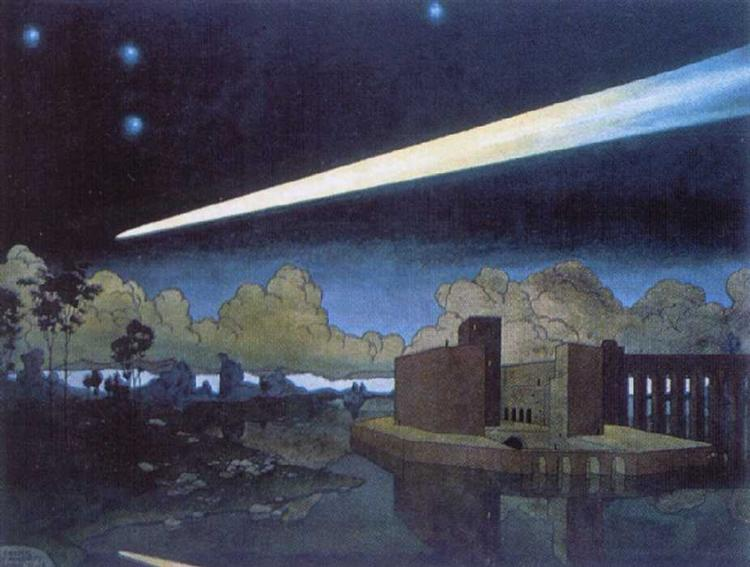 Landscape with a comet, 1910 - Heorhiy Narbut