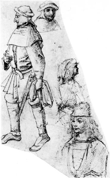 A peasant and three bustlength figures, 1480 - 1515 - Hieronymus Bosch