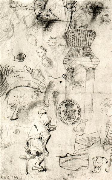 Разные наброски и нищий, 1470 - 1516 - Иероним Босх