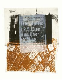 'Amsterdam Central Station' No 4. - mono-print art, 2011; Dutch artist, Hilly van Eerten - Hilly van Eerten