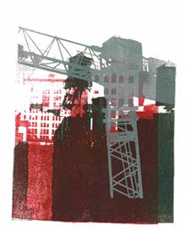 'Gray building crane and watertowers in Manhattan' - mono-print art, 2010; Dutch artist, Hilly van Eerten - Hilly van Eerten