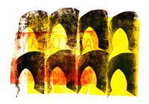 'In front of & behind The Gates' No 2. - mono-print art; graphic artist Hilly van Eerten - Hilly van Eerten