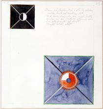 Atom Series, No. 8: Atom on the ether plane is in constant change between rest and activity. At the rest it pulls itself inwards. This affects the earthly atom as giving of force. - Hilma af Klint
