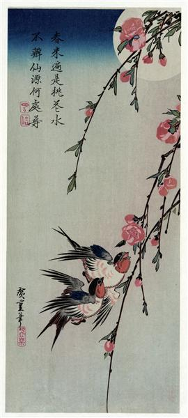 Moon, Swallows and Peach Blossoms, 1850 - Hiroshige
