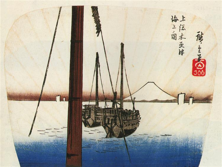 Mount Fuji seen across the water - Hiroshige