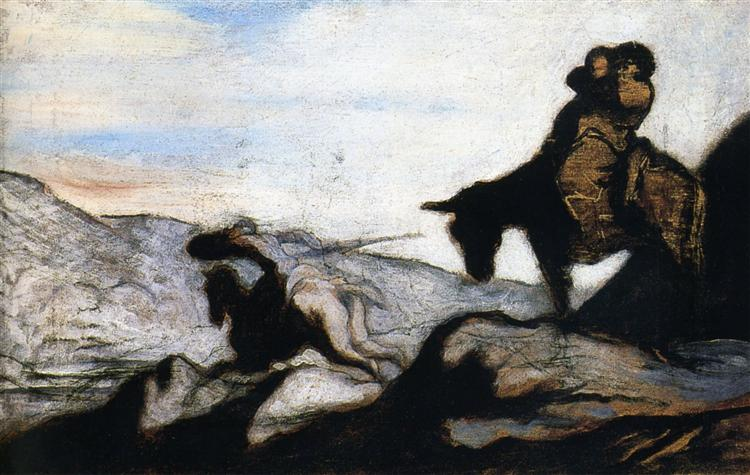 Don Quixote and Sancho Panza in the Mountains - Honore Daumier