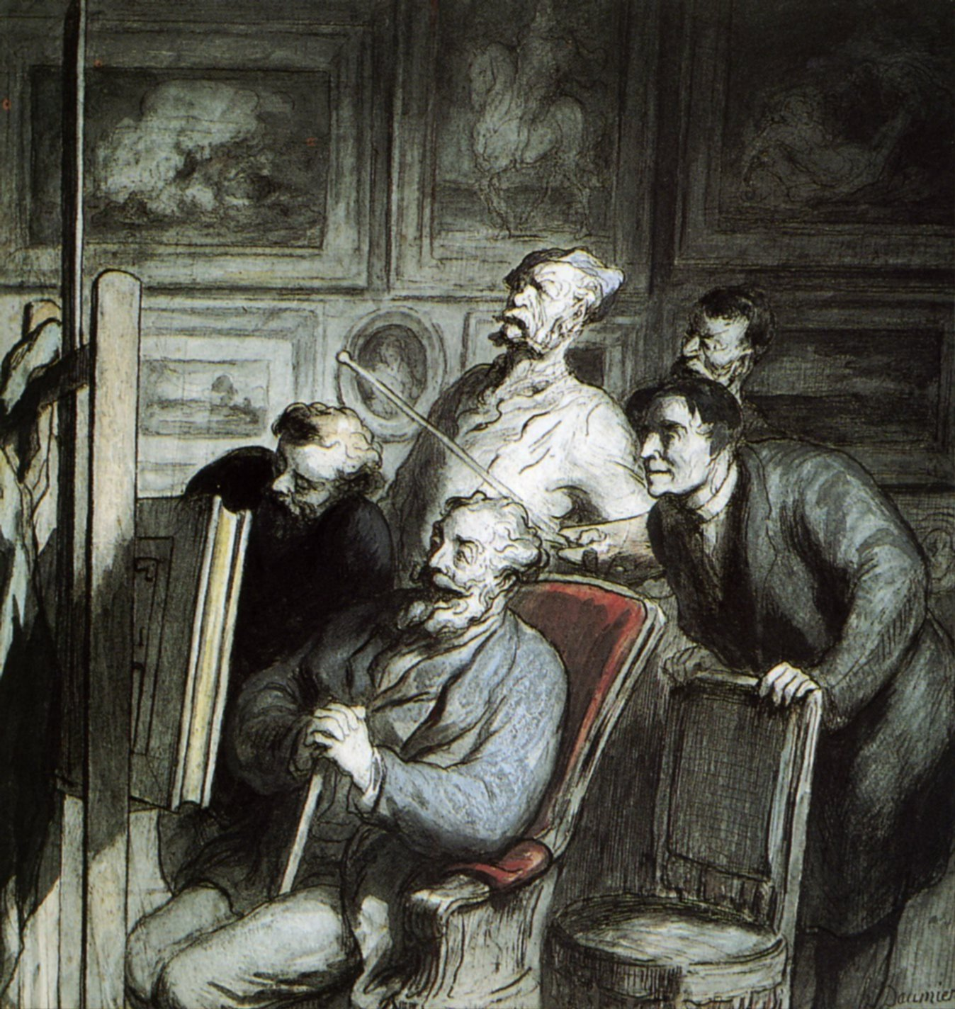 Visitors in the workshop of a painter - Honore Daumier ...