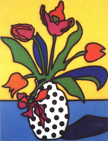 Tulips and Spotted Vase - Howard Arkley