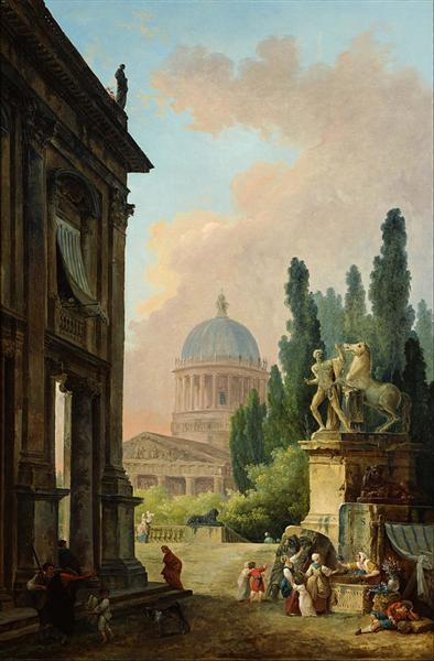 Imaginary View of Rome with the Horse-Tamer of the Monte Cavallo and a Church - Robert Hubert