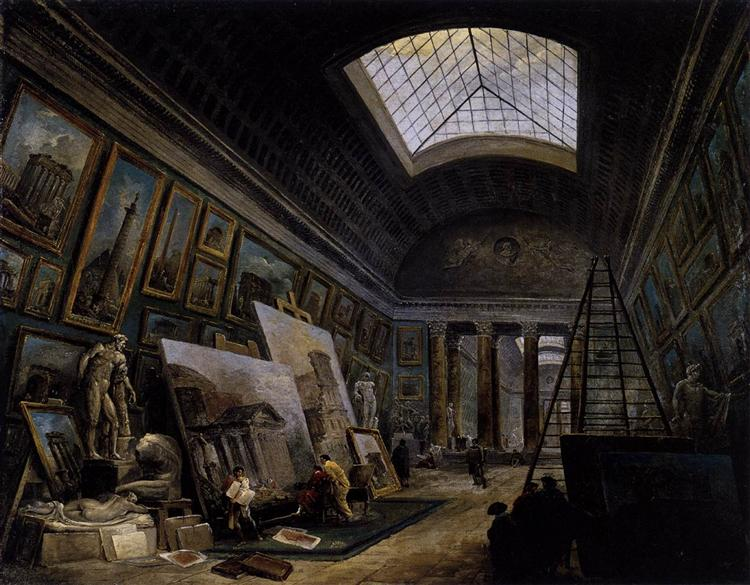 Imaginary View of the Grande Galerie in the Louvre, 1789 - Hubert Robert