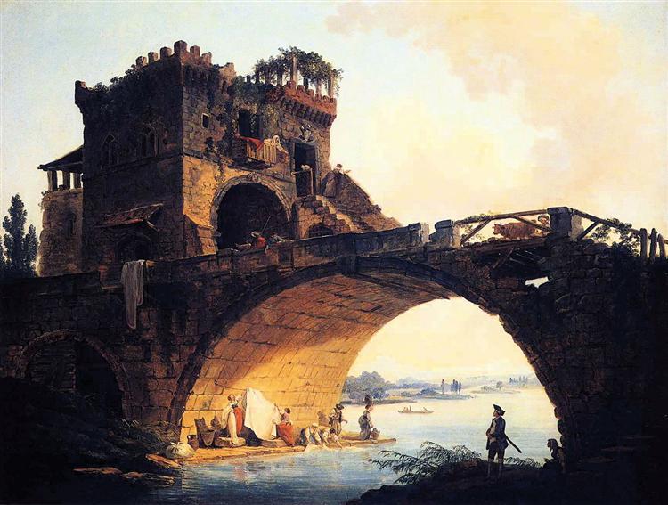 The Old Bridge - Hubert Robert