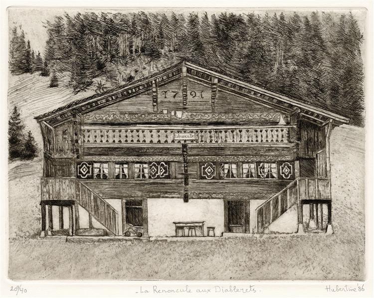 Chalet 'La Renoncule' anno 1791 Les Diablerets Vaud Switzerland - etching print art - Hubertine Heijermans