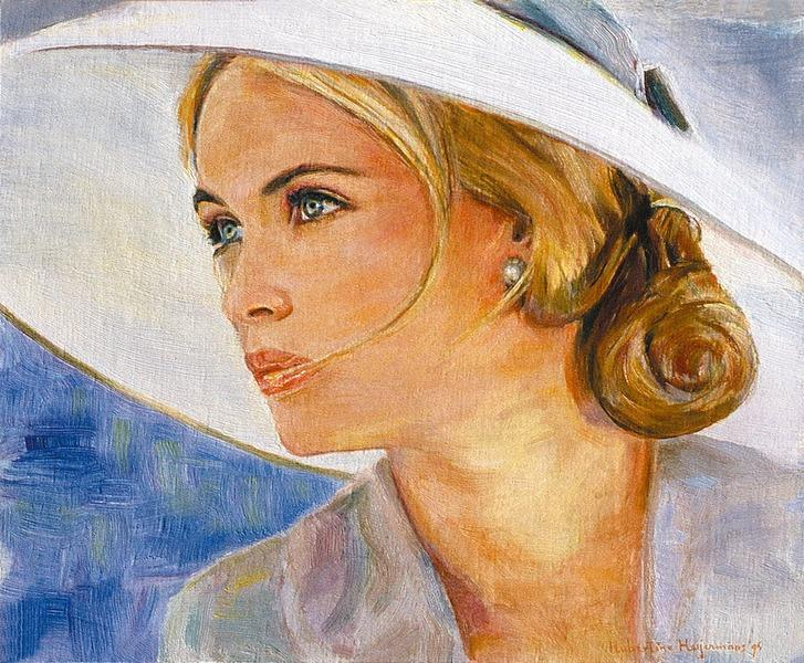 Emmanuelle Béart 1995 - her portrait in oil painting, 1995 - Hubertine Heijermans