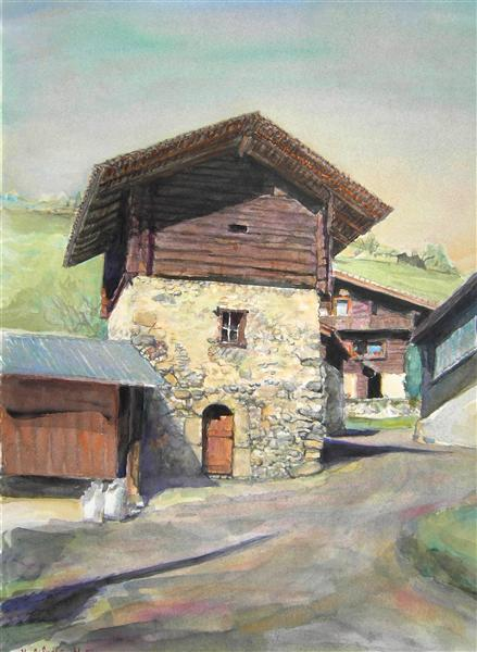 Posses-Dessous - a Swiss mountain barn, in watercolor painting art, 2003 - Hubertine Heijermans