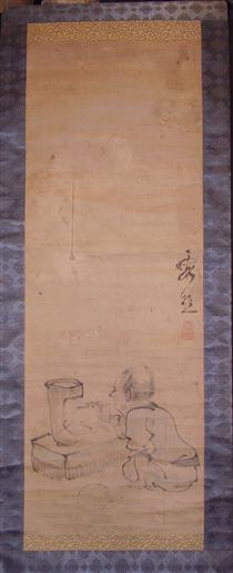Lighting a charcoal brazier (possibly in preparation for a tea ceremony?) - Ike no Taiga