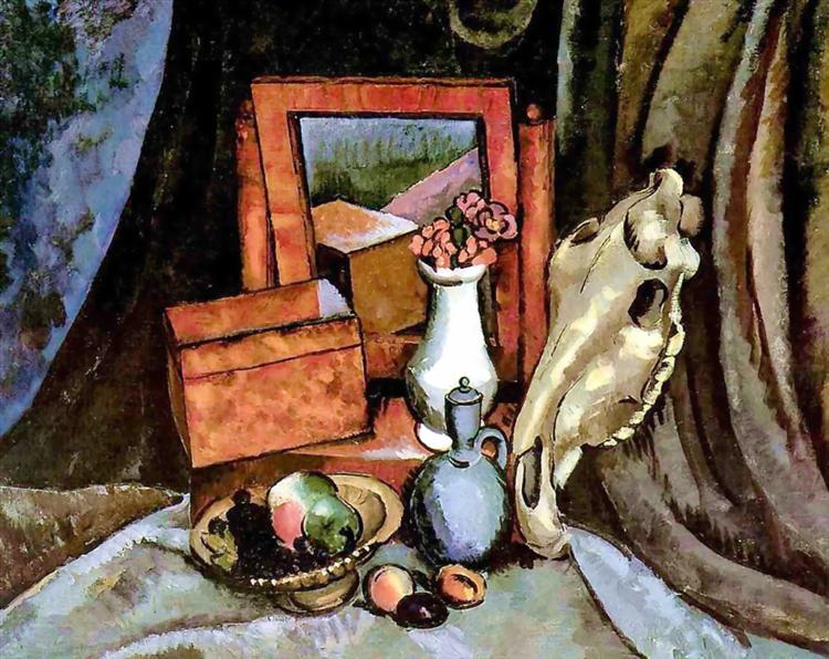 Mirror and a horse skull, 1919 - Ilya Mashkov