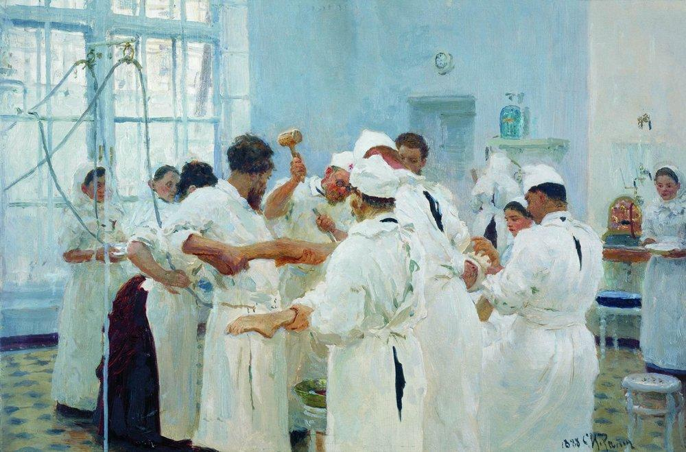The Surgeon E. Pavlov in the Operating Theater, 1888